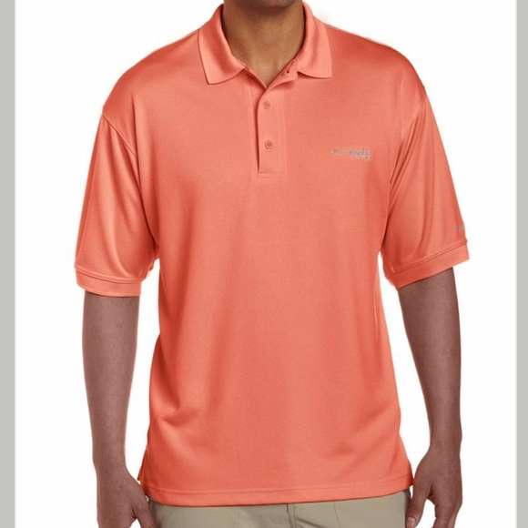 Columbia PFG Mens Medium Perfect Cast Peach Omni Shade Fishing Polo Shirt